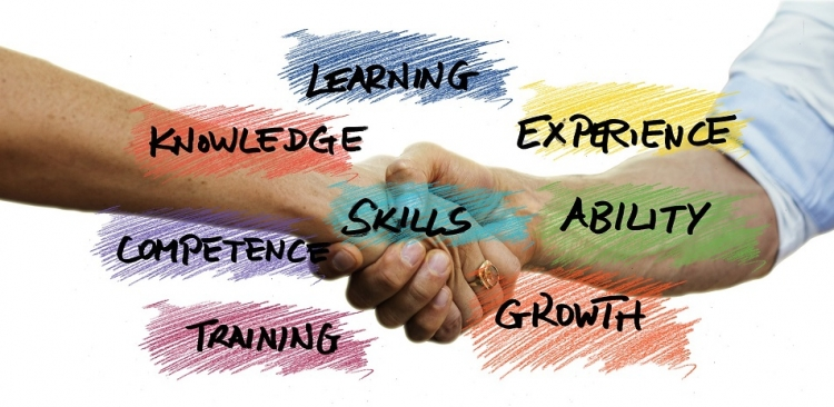 hand shake with keywords learning experience ability growth training competence knowledge and in the middle it says skills