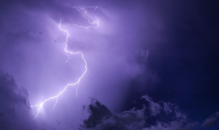 thunder strike with a purple background.