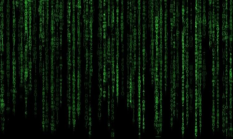 Black screen full of green Matrix like code