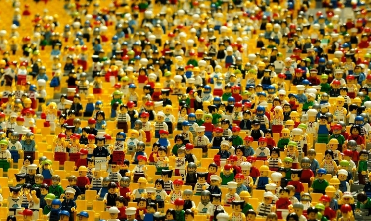 crowd of lego people.
