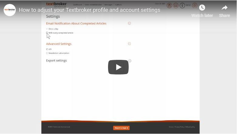 Textbroker Profile and Account Settings