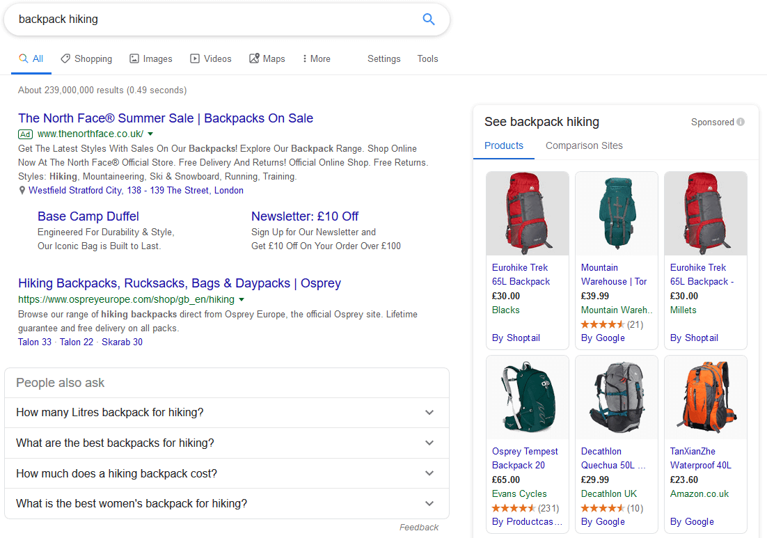 Google SERP: Backpack Hiking