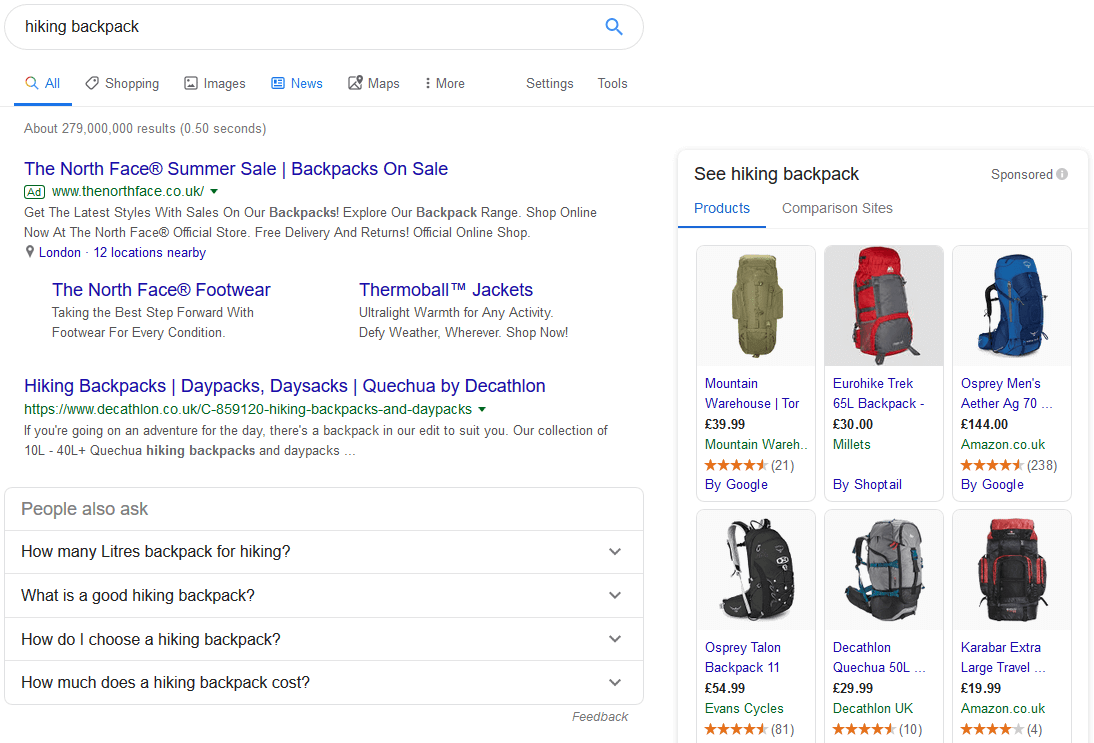 Google SERP: Hiking Backpack