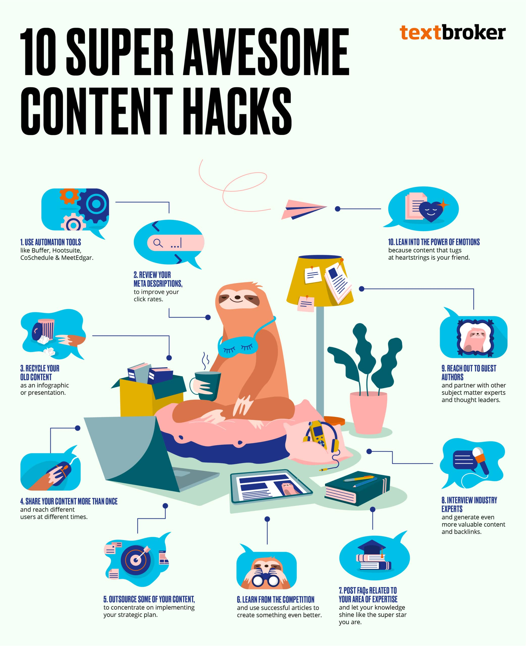 Infographic listing ten content hacks with a sloth on a beanbag with a laptop.